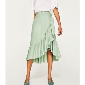 Zara green ruffle wrap midi skirt